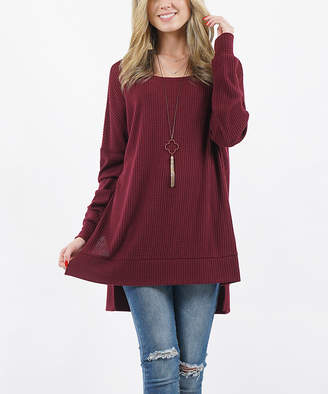 Lydiane Women's Pullover Sweaters DKBURGUNDY - Dark Burgundy Crewneck Thermal Hi-Low Tunic - Women