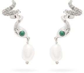 Chloé Snake Faux-pearl Drop Cuff Earrings - Silver