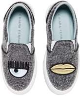 Chiara Ferragni Glittered Leather Slip-On Sneakers