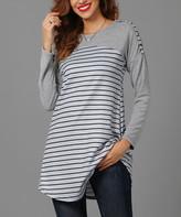 Reborn Collection Women's Tunics Gray - Gray & Black Striped Color Block Tunic - Women & Plus