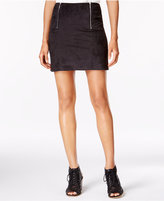 Kensie Faux-Suede Zip-Detail Mini Skirt