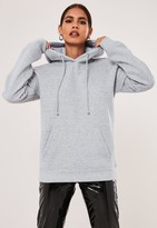 Missguided Grey Marl Basic Hoodie