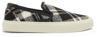 Saint Laurent Venice Tartan Wool-canvas Slip-on Trainers - Black White