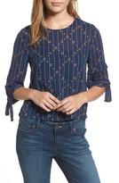 Lucky Brand Women's Tie Sleeve Geo Print Top