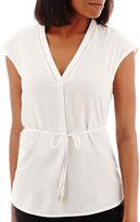 Liz Claiborne Short-Sleeve Belted Tunic Top