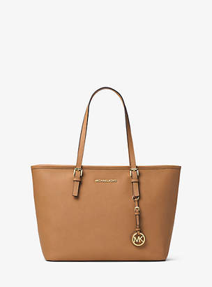 Michael Kors Jet Set Travel Saffiano Leather Top-Zip Tote