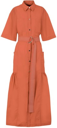 A Line Clothing Tumeric Belted Dress With Ruffle Bottom