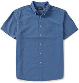 Roundtree & Yorke Big & Tall Short-Sleeve Seersucker Checked Shirt