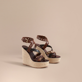 Burberry Riveted Leather Platform Espadrille Wedge Sandals