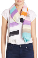 Lord & Taylor Striped Fringe Scarf
