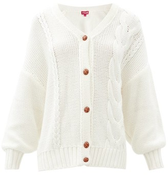 STAUD Blake Cabled Cotton-blend Cardigan - Ivory