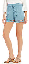 Angie Embroidered Ruffle Hem Soft Shorts