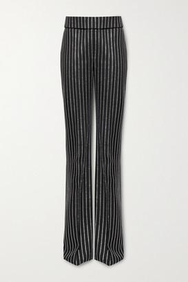 Alexandre Vauthier Crystal-embellished Wool Wide-leg Pants - Black