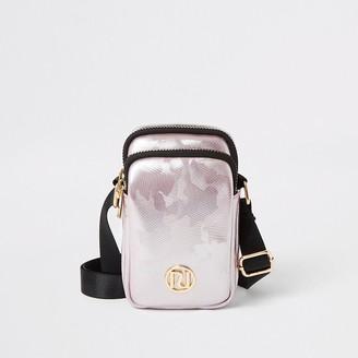 River Island Girls pink metallic jacquard cross body bag