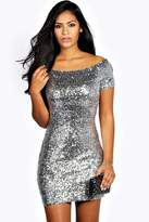 Boohoo Imogen Off The Shoulder Sequin Bodycon Mini Dress