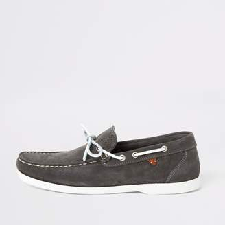 River Island Mens Grey suede boat shoes