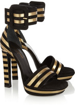 Striped suede and metallic-leather sandals