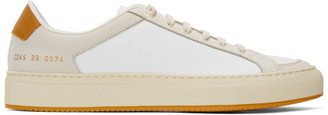 Common Projects White and Yellow Retro 70s Sneakers