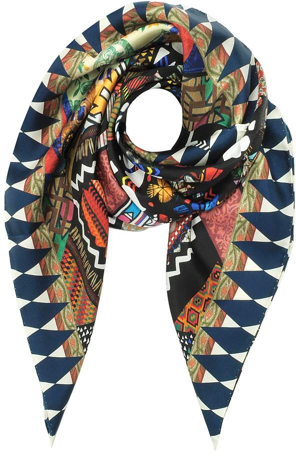 Christian Lacroix Black and Ivory Love Printed Silk Square Scarf