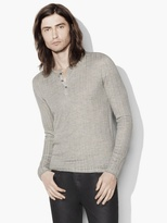 John Varvatos Silk Cotton Ribbed Henley