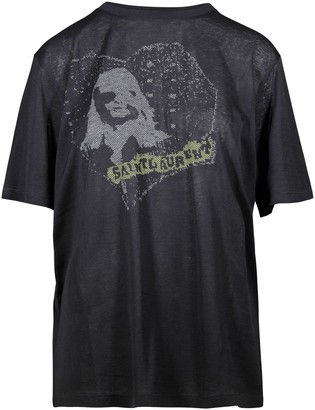 Saint Laurent T-shirt Col Rond Logo Mc