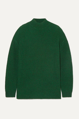 Alice + Olivia Sarah Open-back Ribbed Silk-blend Turtleneck Sweater - Forest green