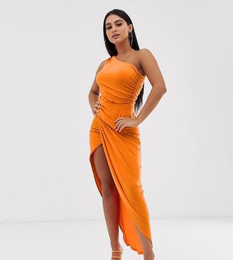 John Zack Petite one shoulder asymmetric midi dress with thigh split in orange