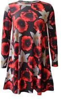 R Kon Women's Printed Floral A Line Floaty Flared Swing Dress Top (Xl Us Uk 16/18, )