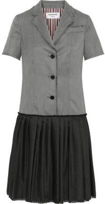 Thom Browne Paneled Pleated Wool-twill Shirt Dress