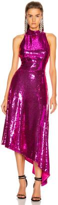 Rasario Asymmetric Sequined Midi Dress in Magenta | FWRD