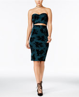 Trixxi Juniors' Illusion 2-Pc. Flocked Velvet Bodycon Dress
