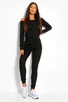 boohoo Tall Viola Slash Neck Lounge Jumpsuit black