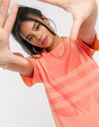 adidas large logo t-shirt dress in coral
