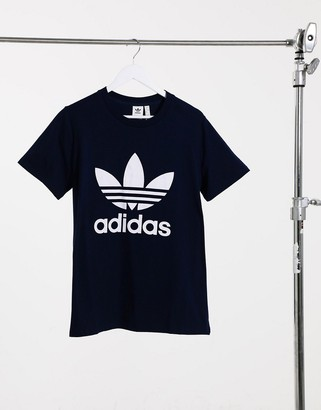 adidas Plus trefoil large logo crew neck t-shirt in navy
