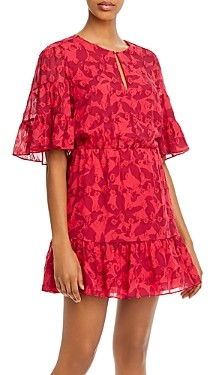 Joie Tersea Silk-Blend Embroidered Ruffled Mini Dress