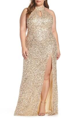 Mac Duggal Sequin Mesh Evening Dress