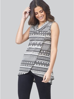 M&Co Izabel tribal print wrap front top