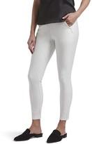 Hue No Waistband High-Waist Skimmer (Bright White Pinstripe) Women's Casual Pants