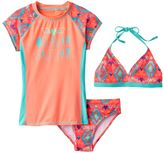 "Girls 7-16 SO® 3-pc. Geometric ""Ocean Air Salty Hair"" Bikini & Rashguard Swimsuit Set"