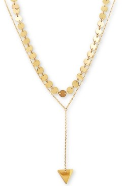Macy's Two-Layer Multi-Disc & Triangle Lariat Necklace in 14k Gold
