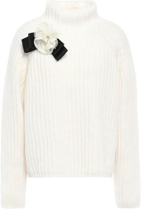 Kate Spade Floral-appliqued Melange Ribbed Alpaca-blend Turtleneck Sweater