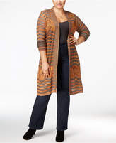 Belldini Plus Size Marled Pointelle Duster Cardigan