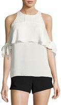 Ramy Brook Penelope Cold-Shoulder Tie-Sleeve Top, White