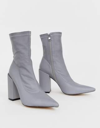 Public Desire Lightning reflective heeled ankle boots-Grey