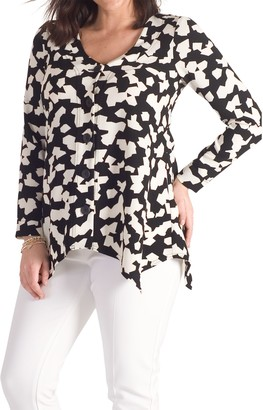 Chesca Abstract Jigsaw Jacket, Black/Ivory