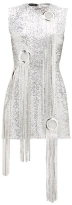 Germanier - Chainmail-tassel Sequinned Mini Dress - Silver