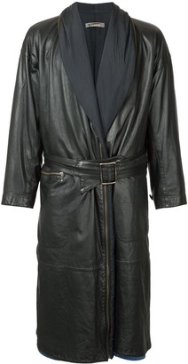 Issey Miyake Pre Owned Leather Trench Coat