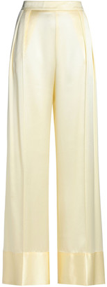 Michael Lo Sordo Pleated Silk-satin Wide-leg Pants