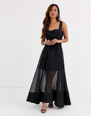 Keepsake chime embroidered polkadot gown-Black