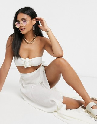 ASOS DESIGN knot front bandeau beach top co-ord in natural ivory crinkle